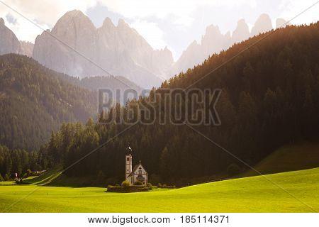 Saint Johann Church At The Dolomites Alps