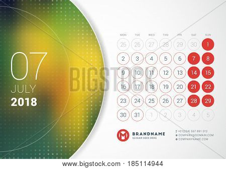 July 2018. Desk Calendar For 2018 Year. Vector Design Print Template With Place For Photo. Week Star