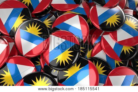 Antigua And Barbuda Badges Background - Pile Of Antiguan Flag Buttons.