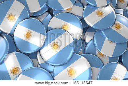 Argentina Badges Background - Pile Of Argentinean Flag Buttons.