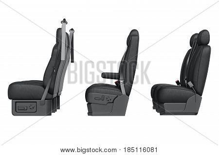 Car seat black leather, side view. 3D rendering