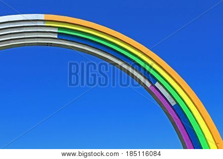 KYIV, UKRAINE - MAY 01, 2017: Arch of Friendship of peoples painted in colors of the rainbow in preparation for the song contest Eurovision-2017