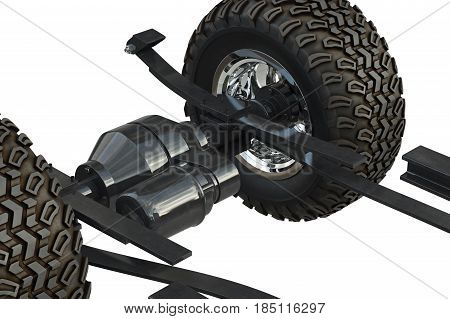 Car underbody with tires, close view. 3D rendering