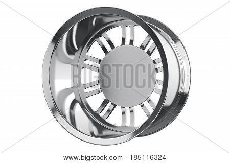 Rim wheel alloy chrome disk. 3D rendering