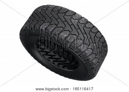 Tire black dirt rubber protector. 3D rendering