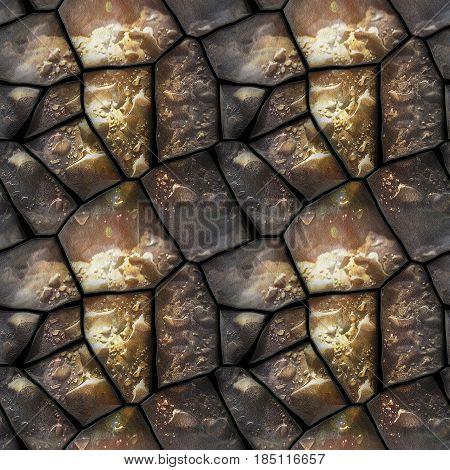 Seamless 3d relief pattern of dewy stones with water drops. Brown, black and white background with polygonal stones and water drops