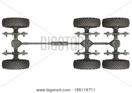 Truck military chassis with wheels, top view. 3D rendering