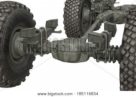 Truck military frame chassis with wheels, close view. 3D rendering