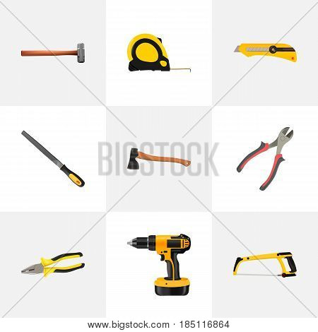 Realistic Pliers, Length Roulette, Sharpener And Other Vector Elements. Set Of Kit Realistic Symbols Also Includes Instrument, Sledge, Pliers Objects.