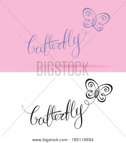 Vector Logo with custom single line lettering and a symbol resembling a Butterfly. All elements neatly placed in well-defined layers.
