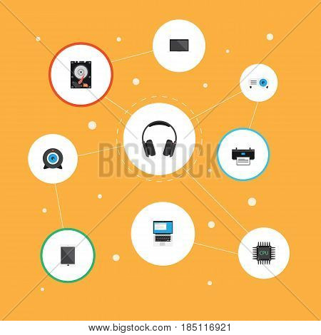 Flat Earphones, Laptop, Presentation And Other Vector Elements. Set Of Notebook Flat Symbols Also Includes Palmtop, Motherboard, Hard Objects.