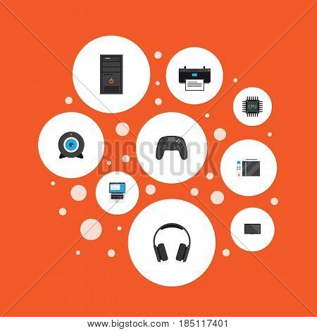 Flat System Unit, Printing Machine, Earphones And Other Vector Elements. Set Of PC Flat Symbols Also Includes Laptop, Game, Keyboard Objects.