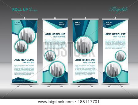 Blue and white Roll Up Banner template design on polygon background Business flyer stand display advertisement j-flag pull up x-banner flag-banner abstract geometric vector illustration