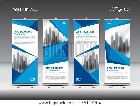 Blue Business Roll Up Banner flat design template polygon background banner stand display advertisement j-flag pull up x-banner flag-banner abstract geometric vector illustration