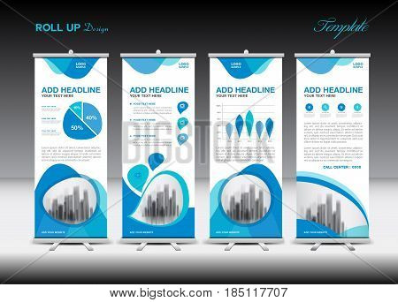 Blue Roll Up Banner template and infographics stand design advertisement pull up vector illustration banner layout business flyer display x-banner flag-banner infographics presentation poster