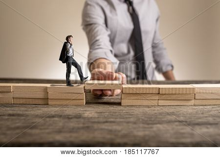 Little Businessman Walking Across Bridge