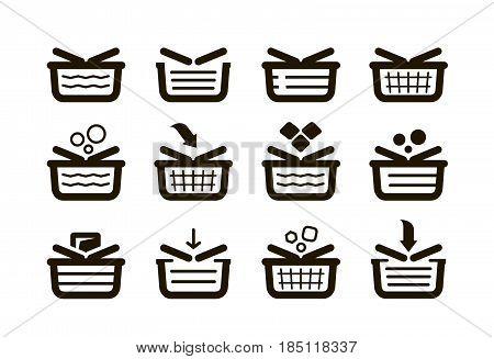 Shopping basket, set icons. Shop, buy, sale symbol. Vector illustration isolated on white background