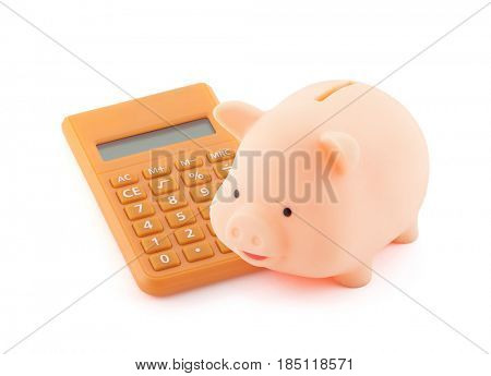 Piggy bank with orange calculator