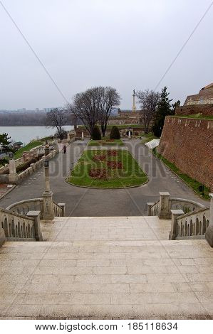 21 may 2009-belgrado-serbia- A beautiful garden near the ancient castle in the city of belgrade in serbia