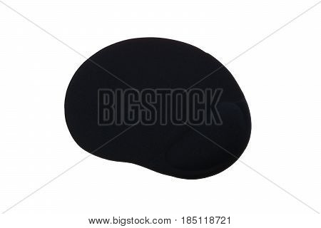 Black ergonomic mouse pad isolated on a white background.