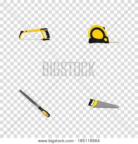 Realistic Length Roulette, Arm-Saw, Sharpener And Other Vector Elements. Set Of Tools Realistic Symbols Also Includes Emery, Hacksaw, Arm Objects.