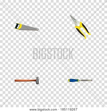 Realistic Scissors, Handle Hit, Hacksaw Vector Elements. Set Of Construction Realistic Symbols Also Includes Chisel, Saw, Carpenter Objects.