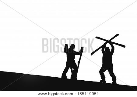 Skier stands mountain top with ski in hands Isolate. Silhouette.