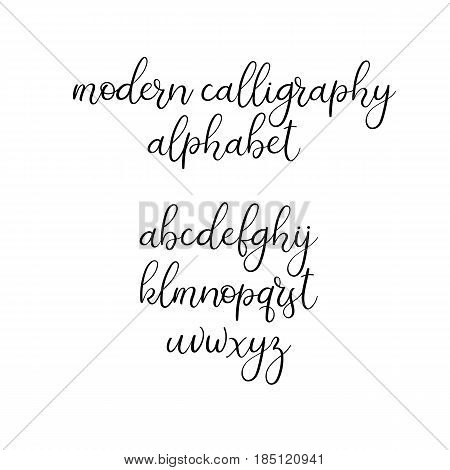 Modern calligraphy font. Wedding brush calligraphy. Handwritten alphabet. Vector handwritten brush script. Isolates on white background