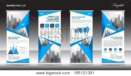 Roll up banner stand template design Blue banner layout advertisement pull up polygon background vector illustration business flyer display x-banner flag-banner infographics presentation poster abstract geometric