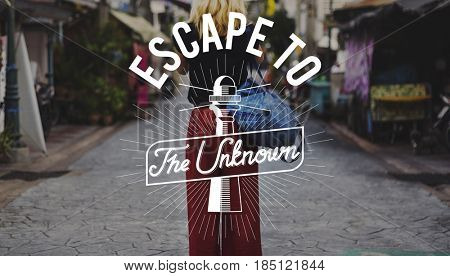 Getaway to the unknown traveling graphic badge