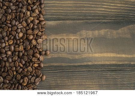 Coffee background, black coffe beans, closeup, arabica