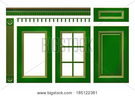 Green with gold door, drawer, column, cornice for kitchen cabinet isolated on white. 3D rendered