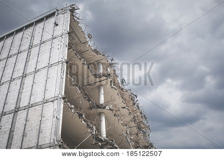 Destroyed Building,  Demolished Apartment House Ruin