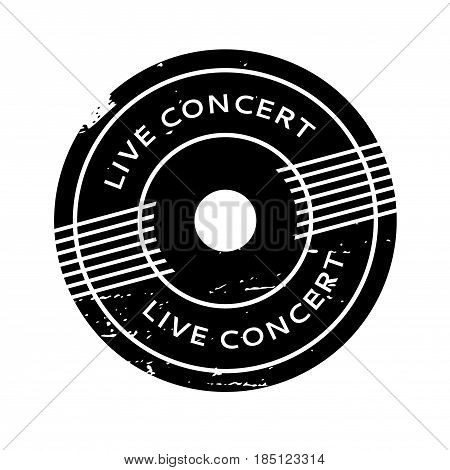 Live Concert rubber stamp. Grunge design with dust scratches. Effects can be easily removed for a clean, crisp look. Color is easily changed.