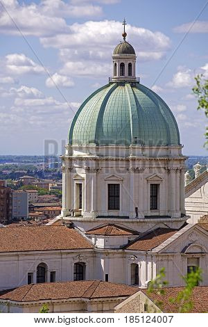 The Duomo cupola over the town in morning light. Brescia Lombardy-Italy