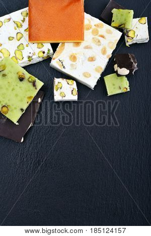 Black Stone Tray With Different Turron
