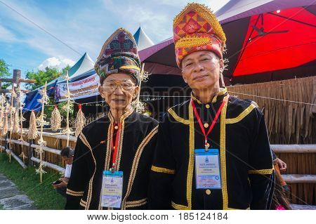Penampang,Sabah-May 30,2016:A group of Kadazandusun ethnic of Sabah,Borneo in their traditional costumes during Harvest Festival at Penampang,Sabah,Malaysian.Its an ethnic group indigenous to the state of Sabah in Malaysia