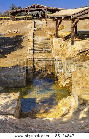 Jesus Baptism Site John Baptist Bethany Beyond Jordan. Actual baptism site of Jesus. Jordan River Moved and Ruins are of Byzantine Churches marking spot of baptism. Rediscovered late 1990s and early 2000.