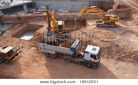 Construction site with dump truck