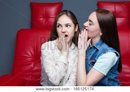 Two pretty girls gossiping on red leather couch