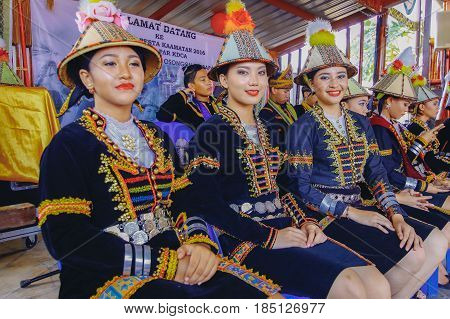 Penampang,Sabah-May 31,2016:Beautiful Kadazandusun girls in traditional costume for Unduk Ngadau Kaamatan.It is a beauty pageant held annually during the Kaamatan cultural event in Sabah,Malaysia