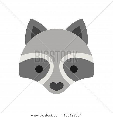 Cute cartoon raccon face icon. Simple and adorable vector illustration.