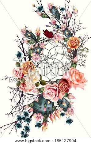 Beautiful boho illustration with dreamcatcher rose flowers and cactuses