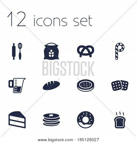 Set Of 12  Icons Set.Collection Of Striped Lollipop, Whisk, Crepe And Other Elements.