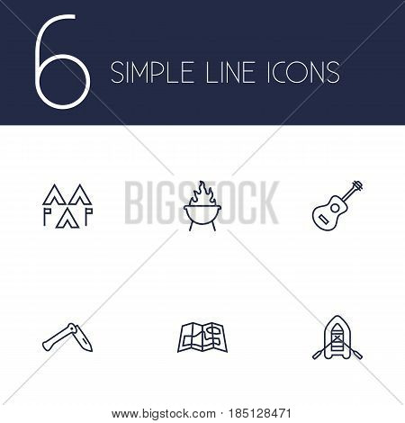 Set Of 6 Outdoor Outline Icons Set.Collection Of Guitar, Encampment, Rubber Boat And Other Elements.
