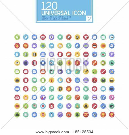 Colorful drop shadow icon set. Fully editable Illustration vector