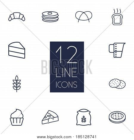Set Of 12  Outline Icons Set.Collection Of Wheat, Apple Pie, Pancakes And Other Elements.