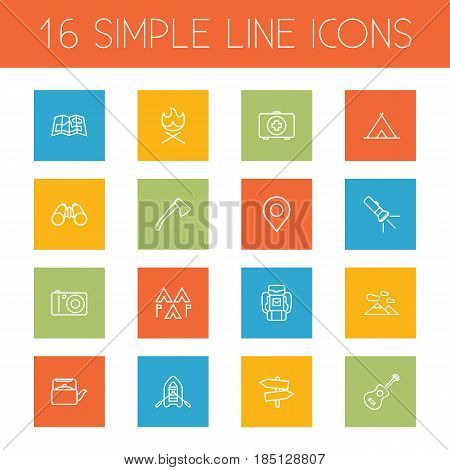 Set Of 16 Camping Outline Icons Set.Collection Of Binoculars, Encampment, Rubber Boat And Other Elements.
