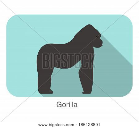 Strong Gorilla Standing And Watching, Vector Illustration