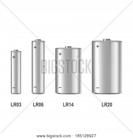 Vector realistic white alkaline batteriy icon set. Diffrent size - AAA, AA, C, D. Design template for branding, mockup. Closeup isolated on white background. EPS10 illustration.